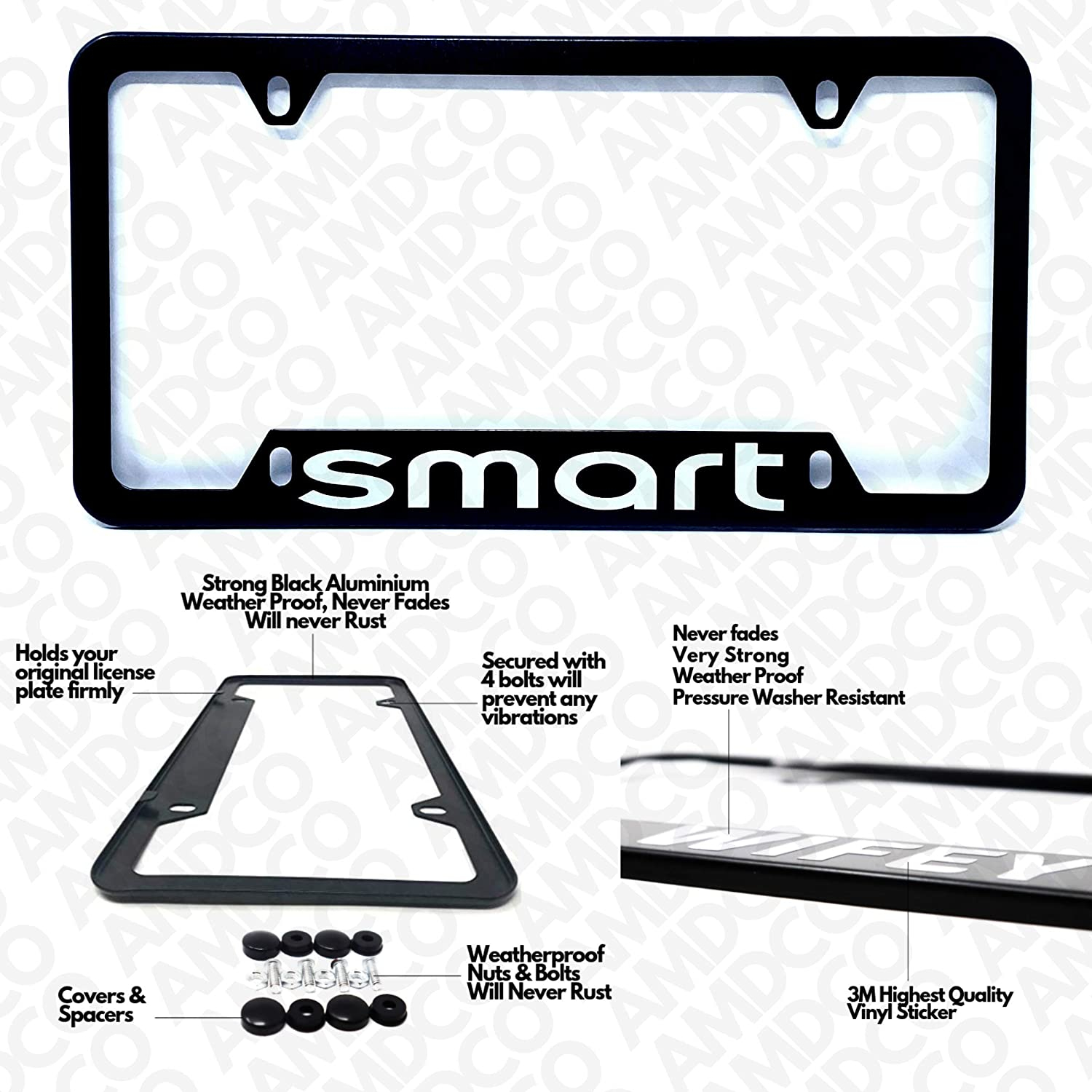 Pack of 1 Black License Plate Cover Holder Frame Badge Stickers Decals with Strong 3M Includes Instructions Measure Before Purchase Fitment fit for fortwo forspeed formore forfour AMD