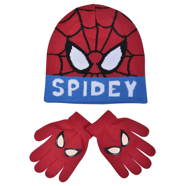 Boys Marvel Spider-Man Childrens Winter Beanie Hat & Gloves Official Set 54800