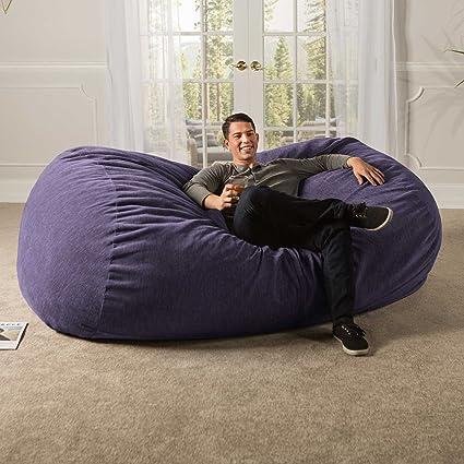 Incroyable Jaxx 7 Ft Giant Bean Bag Sofa With Premium Chenille Cover, Plum