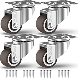 GBL - 1'' Small Caster Wheels + Screws 90Lbs | Low Profile Castor Wheels Without Brakes | Dolly Wheels for Furniture Trolley Hardwood Floors