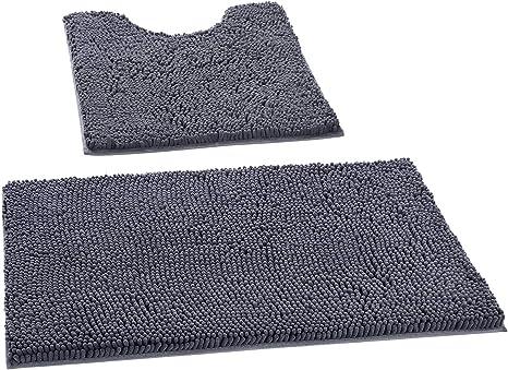 kmat bath mats luxury chenille bathroom rugs 2 pcs soft plush anti slip 20 x30 shower rug 20 x24 u toilet mat super absorbent shaggy bath rugs