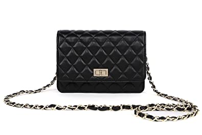 Gemate Women's Genuine Leather Quilted Chain Shoulder Bag ...