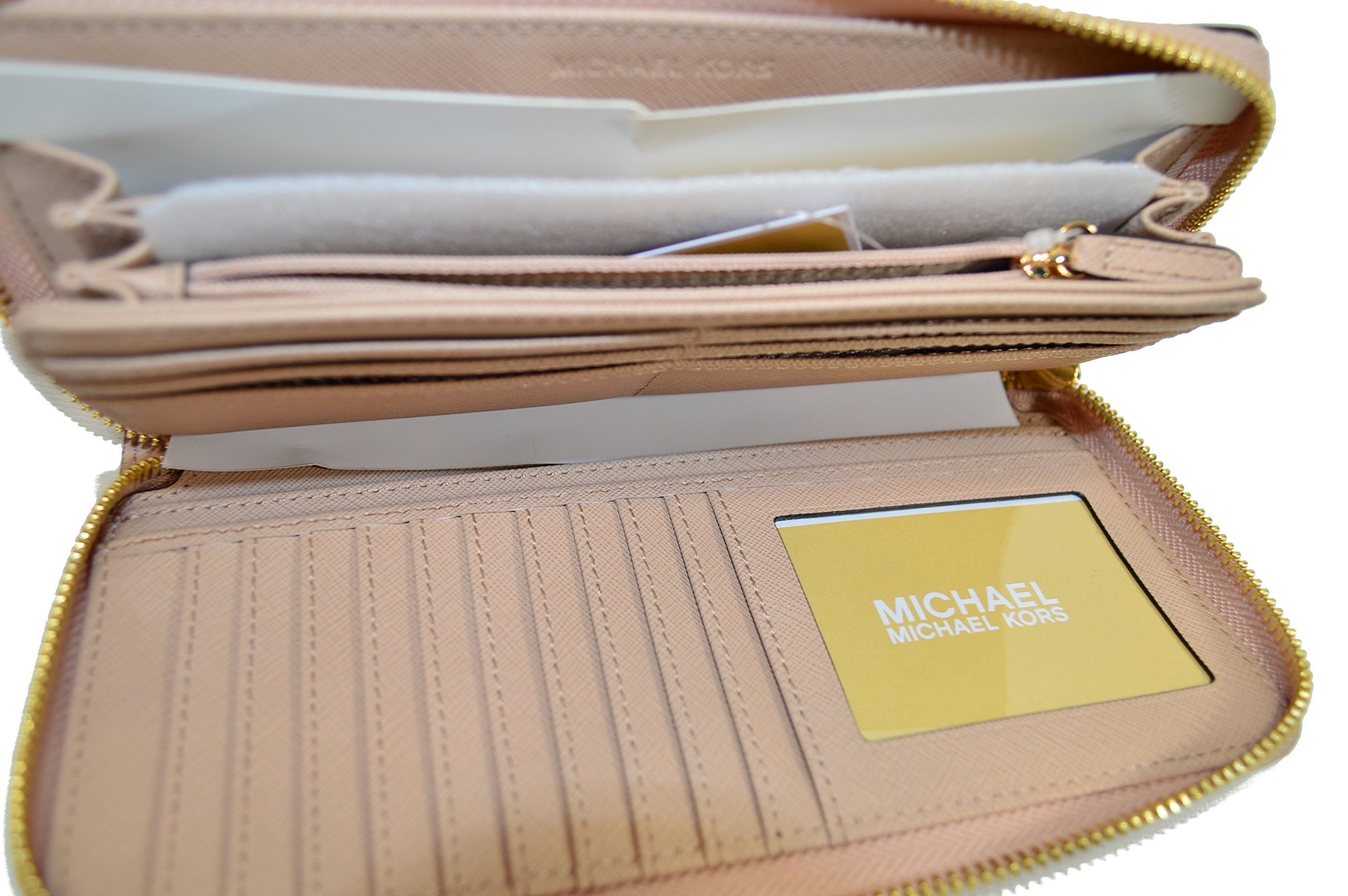 Michael Kors Jet Set Travel Zip Around Leather Clutch Blush by Michael Kors (Image #4)