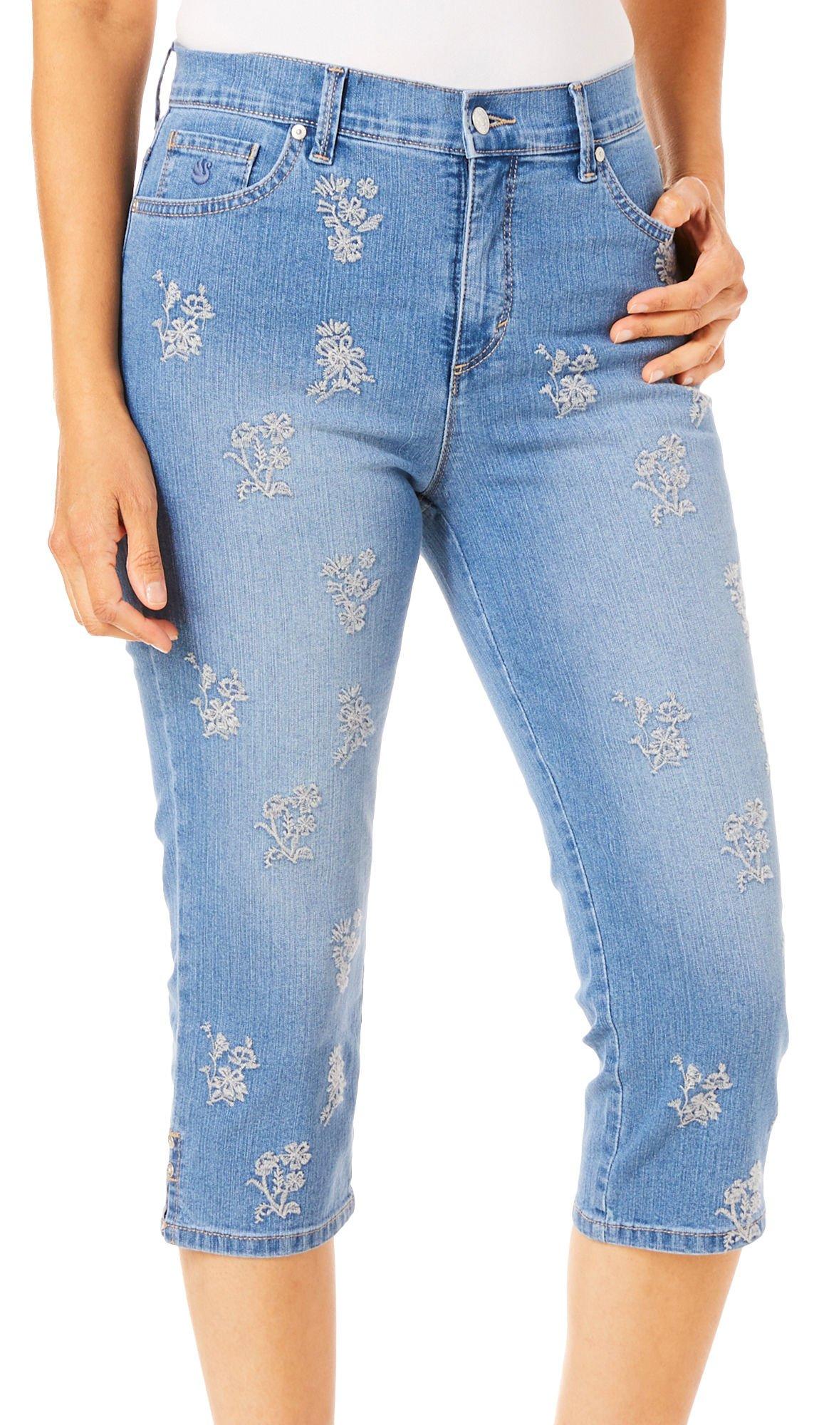 Gloria Vanderbilt Petite Amanda Embroidered Floral Capris 14P Trento Blue