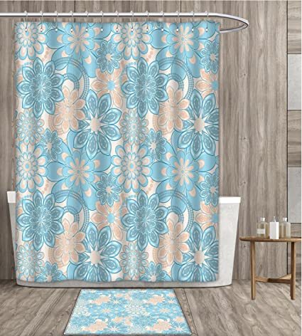 SmllmoonDecor Yellow And Blue Shower Curtain Customize Gentle Spring Inspired Flourish Motifs Feminine Bouquet Fabric Bathroom