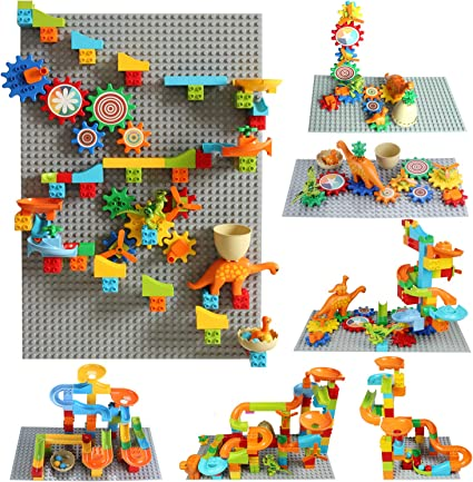 Amazon Com Couomoxa Marble Run Building Block Set Gear Building Set Classic Big Building Blocks Dinosaur Garden Blocks Educational Stem Toy Bricks Set Kids Race Track Luxury Gift For Kids Toys Games