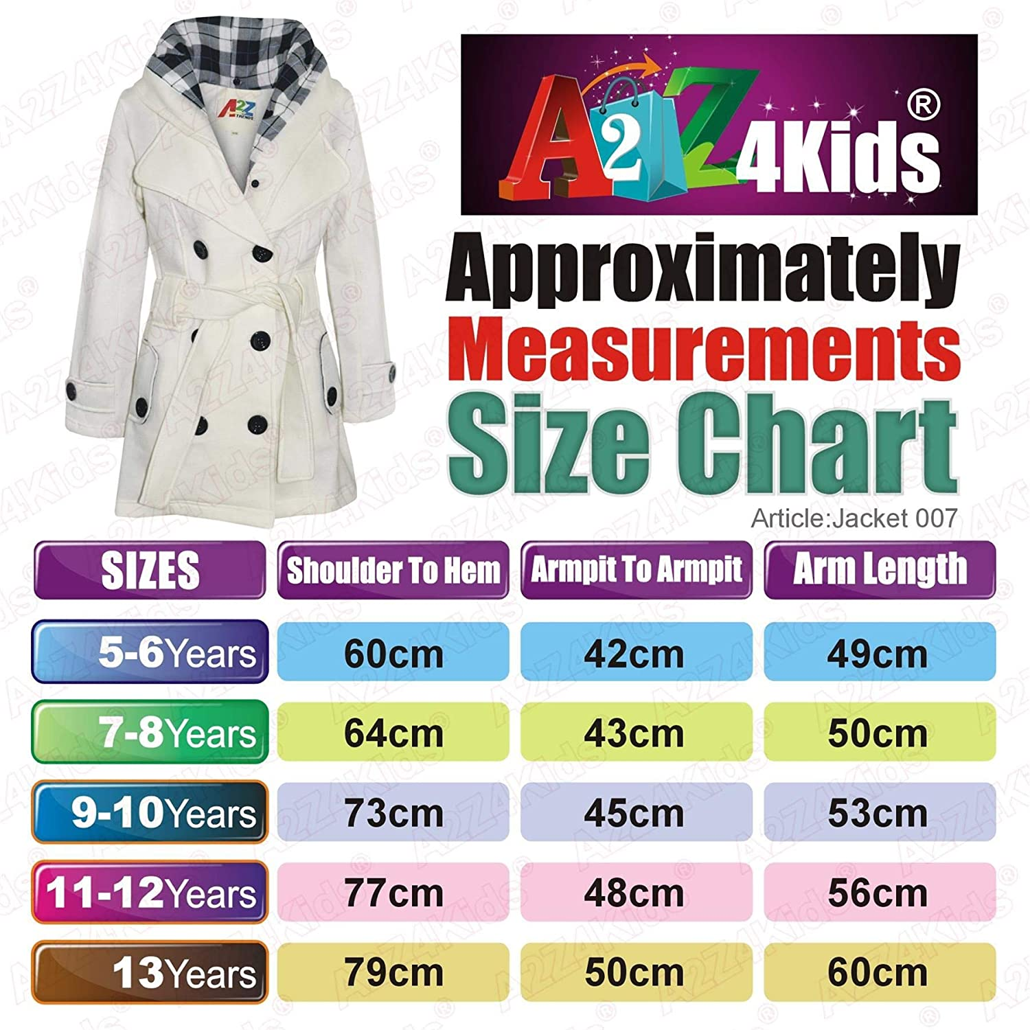 A2Z 4 Kids/® Kids Girls Parka Jacket Hooded Trench Coat Fashion Wool Blends Warm Padded Cream Jacket Oversized Lapels Belted Cuffs Long Overcoat New Age 5 6 7 8 9 10 11 12 13 Years