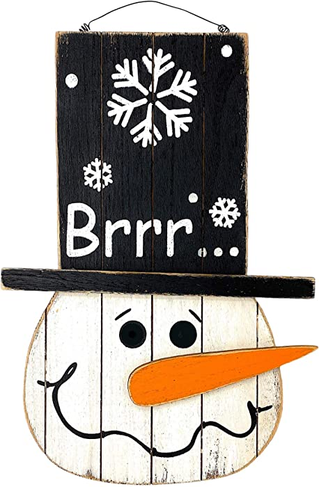 "D.I.D. Snowman Wood Sign Christmas Holiday Decoration for Door Wall Fireplace Indoor Outdoor 18""x12.3"""