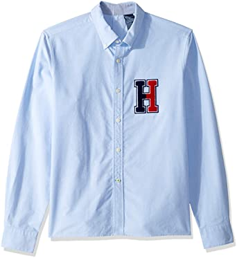 1ce72b0cc0a8d Tommy Hilfiger Adaptive Men s Seated Fit Magnetic Button Shirt with Touch  Fastener Back Collection Blue Small