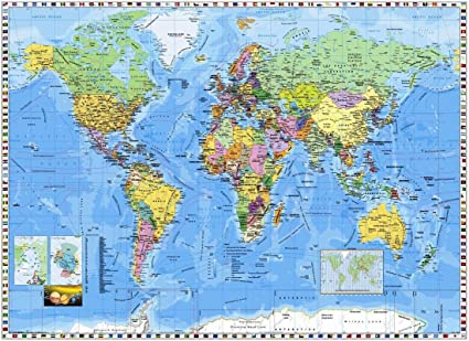 World map wallpaperf on hi quality paper 24x36 print amazon world map wallpaperf on hi quality paper 24x36 print gumiabroncs Gallery