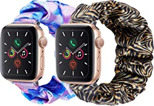 2 Pack Scrunchie Elastic Watch Band Compatible for Apple Watch,38mm 40mm, 42mm 44mm,Printed Band Replacement Strap for iWatch Series 6,5,4,3,2,1(2 Pack-No.04+05, 42MM 44MM)