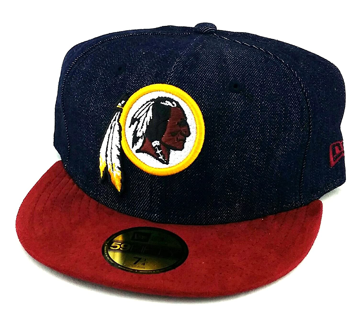 Amazon.com   Washington Redskins New Era 59Fifty Denim Suede Blue Burgundy Fitted  Hat 7 1 4   Sports   Outdoors 904f56d56a4c