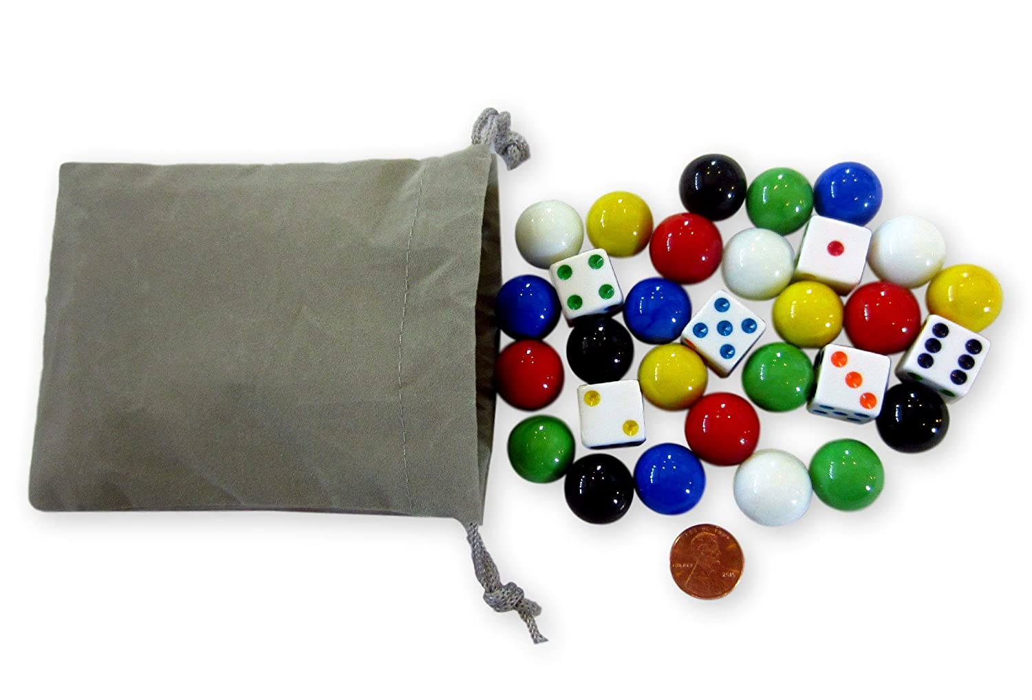 Game Bag of 24 Glass Marbles (17-18mm) and 6 Dice for Aggravation Game AmishToyBox.com