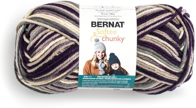 Bernat Big Ball Chunky Ombre Yarn, 10.5oz, Super Bulky 6 Gauge, 100% Acrylic Intrigue - Machine Wash & Dry