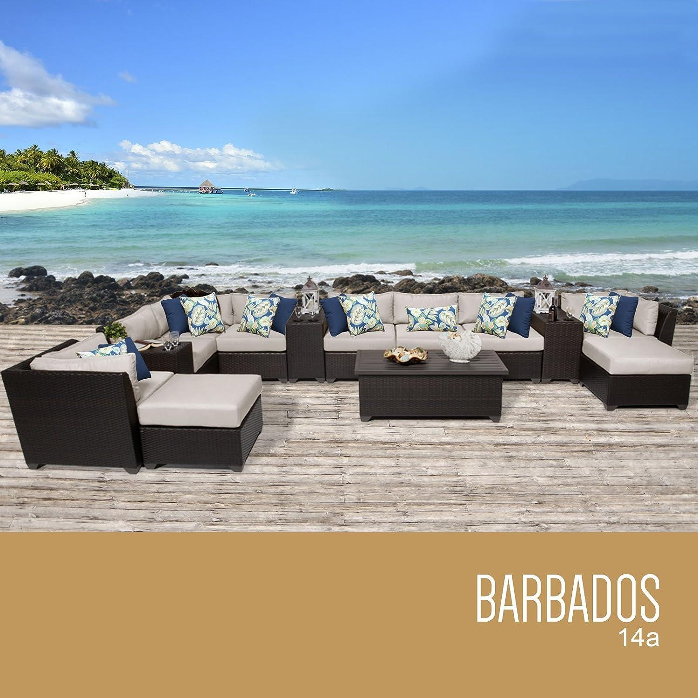 Amazon.com: TK Classics 14 Piece Barbados Outdoor Wicker Patio Furniture  Set, Terracotta: Patio, Lawn U0026 Garden