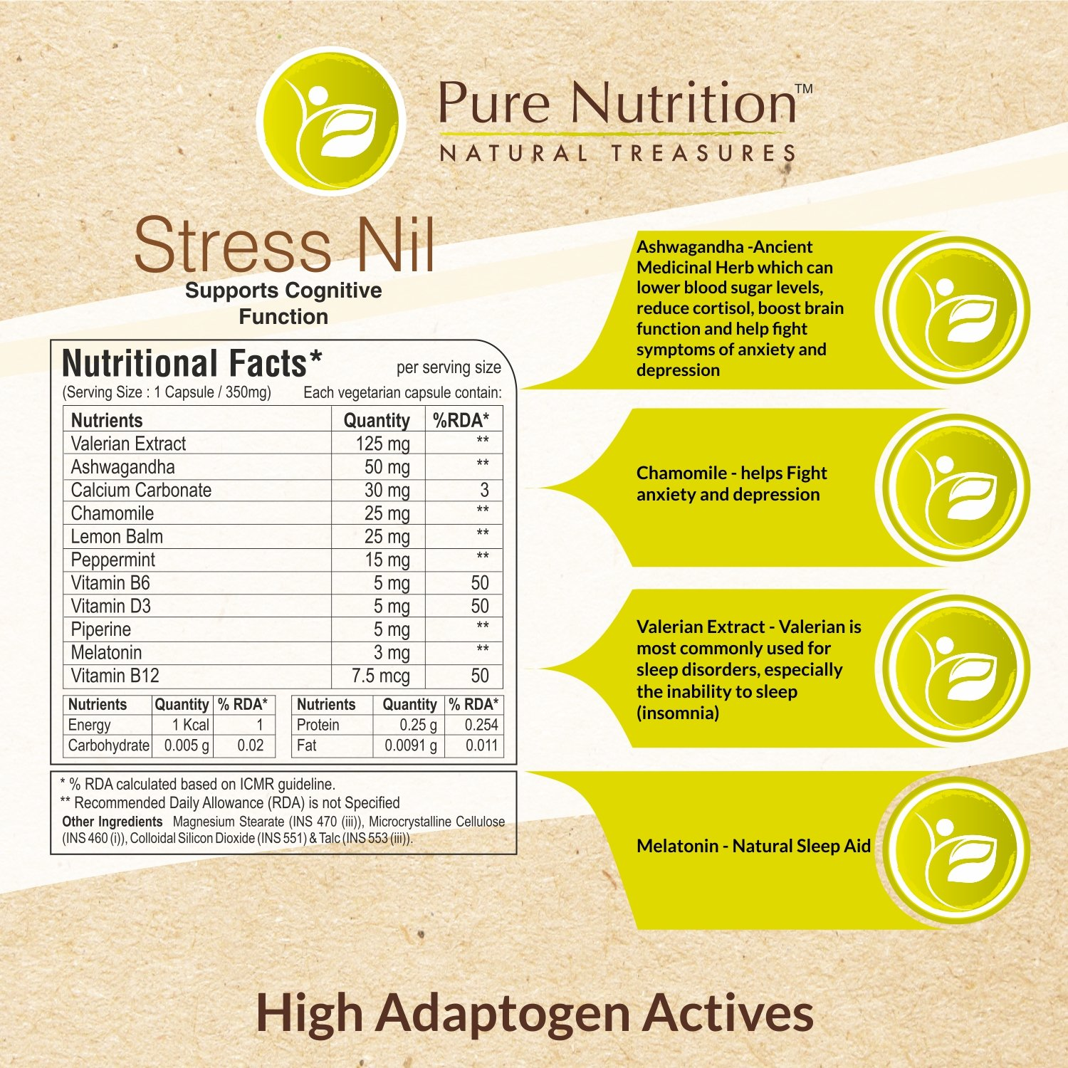 Amazon.com: Pure Nutrition Stress Nil (Higher Adptogen Activities) - 90 Capsules: Health & Personal Care