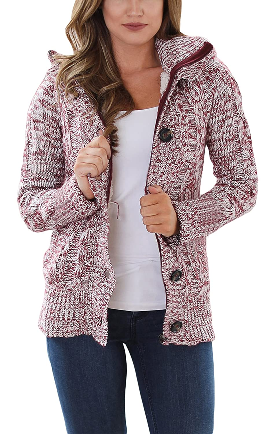Asvivid Womens Hooded Cable Knit Button Down Outwear Fleece Sweater Cardigans Coats with Pockets AF27652-A