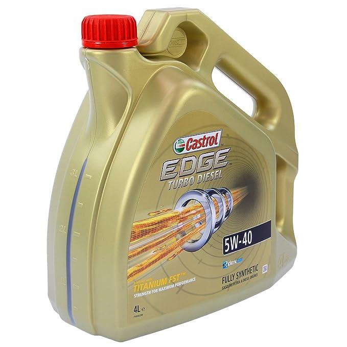 CASTROL EDGE TITANIUM FSTTM 16 L Turbo Diesel 5W-40 CASTROL etiqueta cambio Embudo aceite motor ACEA C3 abejas SN/CF, VW 502 00/505 00/505 01; ...