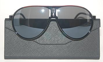 Gafas de sol estilo carrera, categoría 3 UV400, con bolsa y gamuza, color negro y rojo