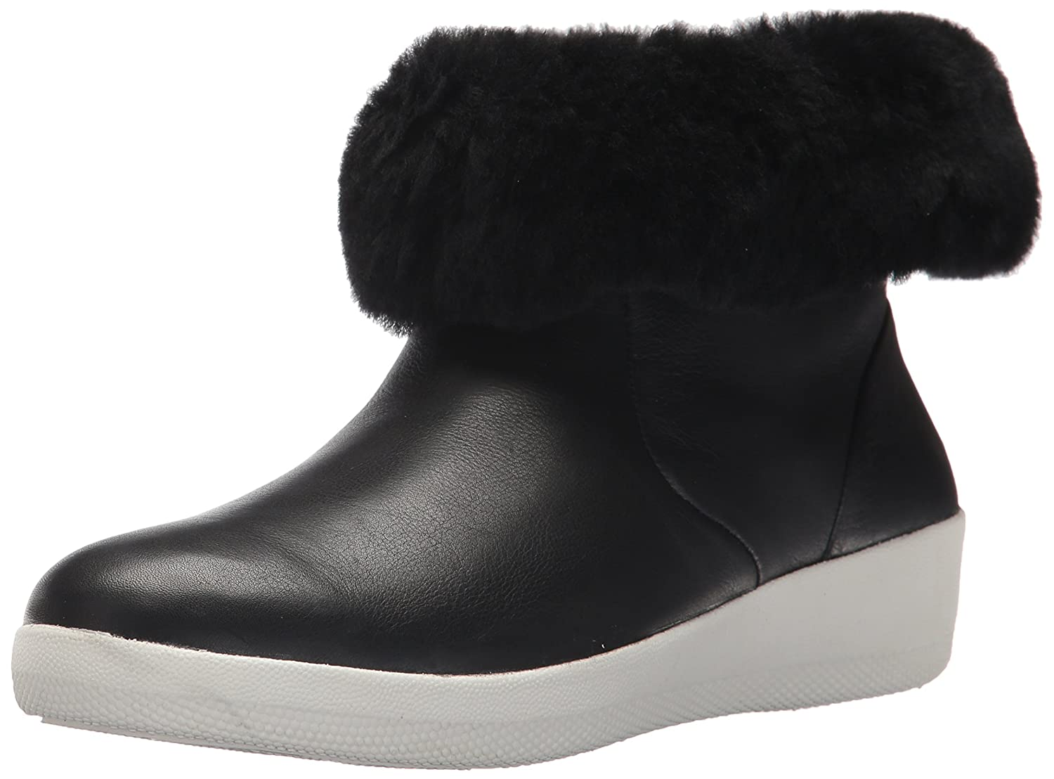 FitFlop Women's Skatebootie Leather Shearling Ankle Boot B0764G7MVQ 7 B(M) US|Black