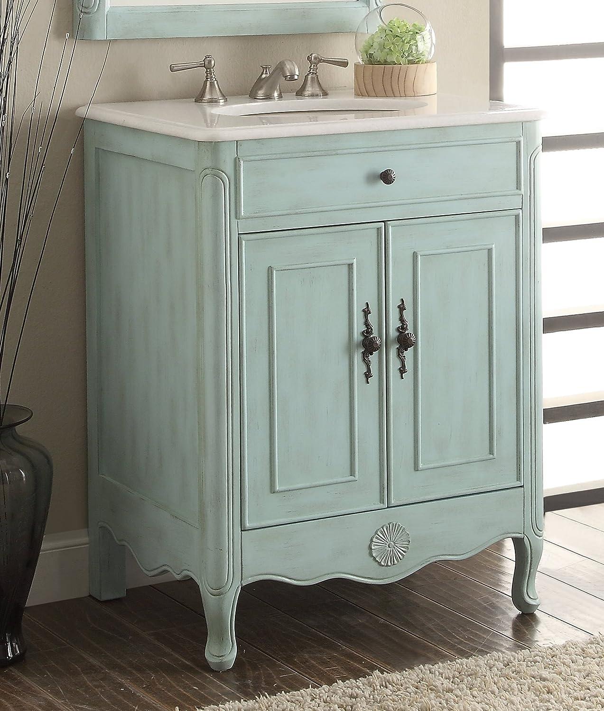 Daleville 34 inch vanity hf081wp distressed cream - 26 Cottage Style Pastel Light Blue Daleville Bathroom Sink Vanity Model 838lb Amazon Com