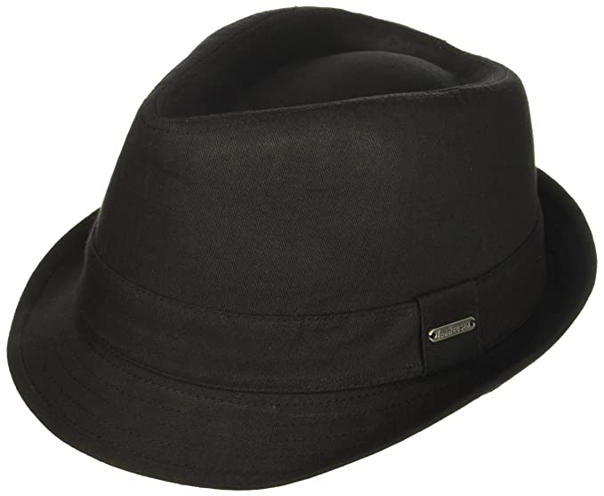 e81d8ac4fbba6 Van Heusen Twill Herringbone Men's Fedora Hat, Lightweight, Black Medium/ Large