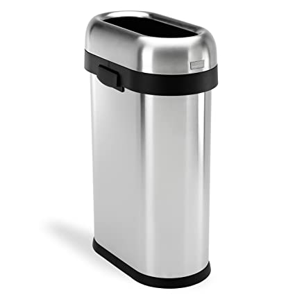 Simplehuman Slim Open Top Trash Can, Commercial Grade, Heavy Gauge Stainless  Steel, 50