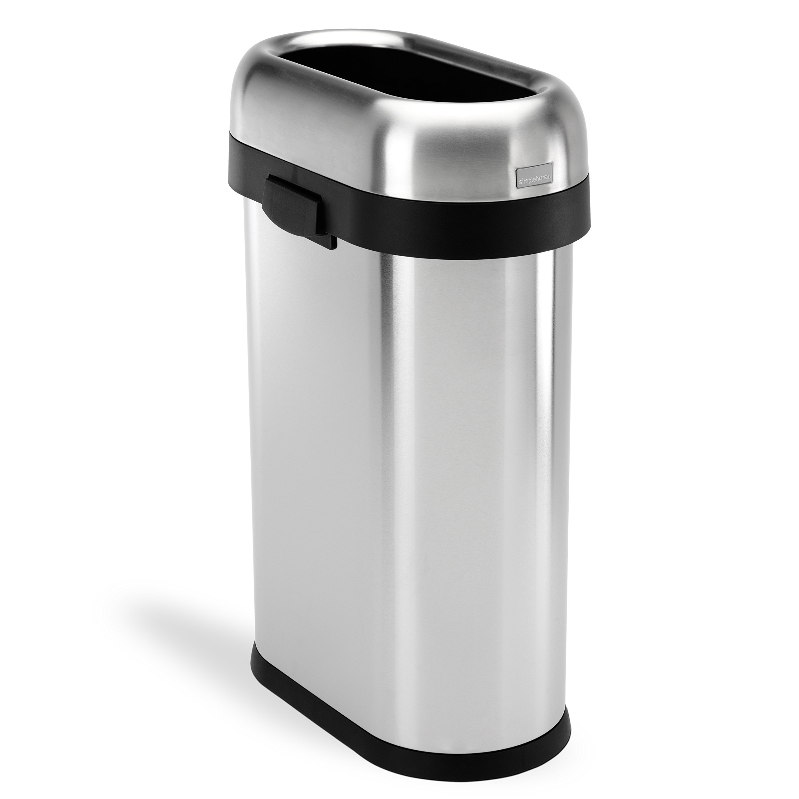 simplehuman Slim Open Top Trash Can, Commercial Grade, Heavy Gauge Stainless Steel, 50 L / 13 Gal by simplehuman