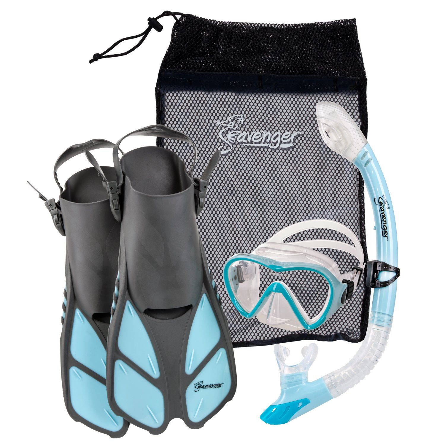 Seavenger Diving Dry Top Snorkel Set with Trek Fin, Single Lens Mask and Gear Bag, S/M - Size 4.5 to 8.5, Gray/Dodger Blue by Seavenger