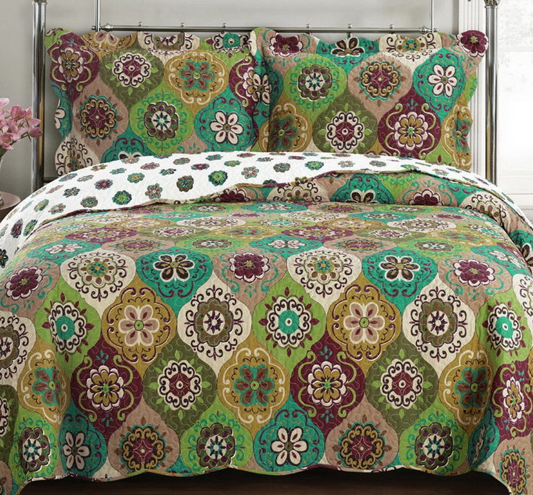 Green Gold Reversible Quilt Coverlet Set Full/Queen Oversized
