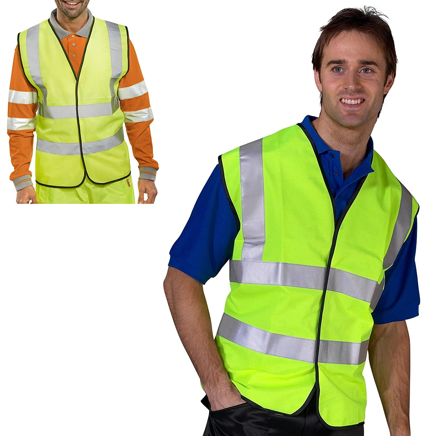 Tigerbox® Be Safe Be Seen Adult Hi-Vis Safety Vest Waistcoat (5XL) Suitable For Cycling, Driving, Motorcycle, Motorbike, Bike, Biker, Road Side - Orange Shop4accessories