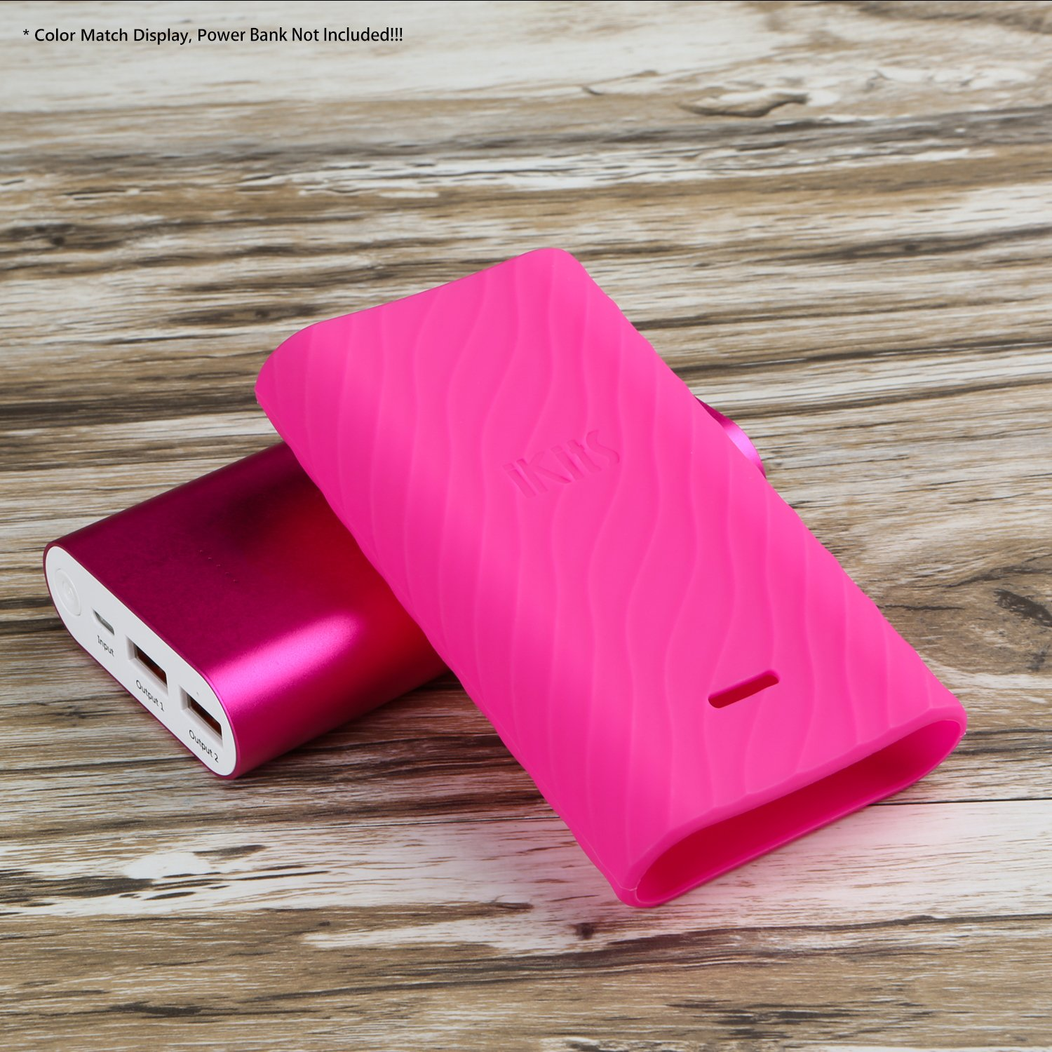iKits Protective Case 10200mAh Portable Charger, Fast Charge Power Bank Silicone Case, Ripple Wave Design, Precise LED Lights Cut, Colorful Choices for 10000mAh Batter Pack (Rose Red) by iKits (Image #6)