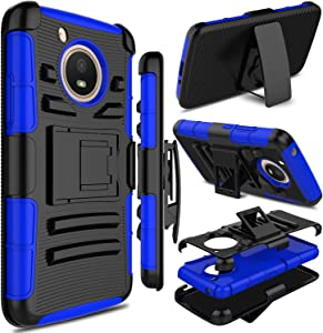 Motorola Moto E4 Case, Moto E 4th Generation Case, Zenic Full-Body Heavy Duty Shockproof Protective Hybrid Case Cover with Swivel Belt Clip and Kickstand for Moto E4 / G5 (Blue)