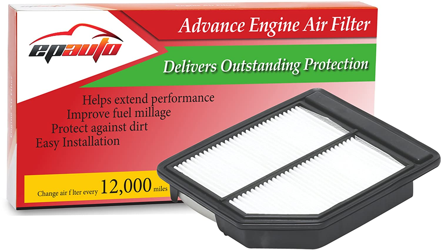 EPAuto GP165 (CA10165) Replacement for Honda Extra Guard Rigid Panel Engine Air Filter for Civic (2006-2011), Suggest Replace with Cabin Air Filter with CP134 (CF10134)