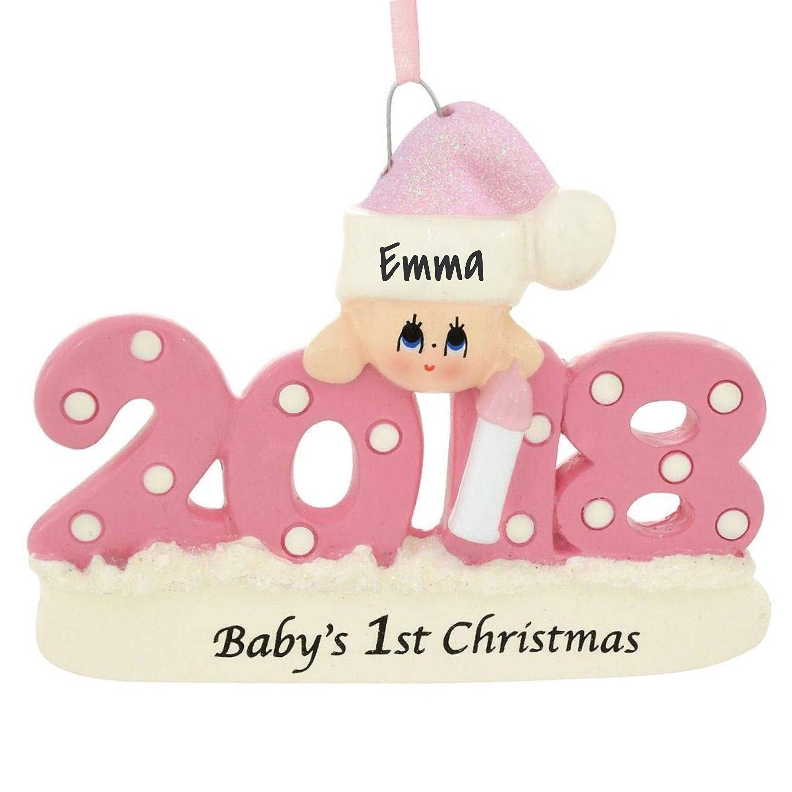 3e25f1f4d734f Amazon.com  Baby s First Xmas Ornament 2018 - Pink Girl - Includes  Personalization  Home   Kitchen