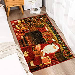 Zareas Merry Christmas Area Rug 3x5 Santa by Fireplace Entrance Door Mat Indoor Outdoor Runner Rugs for Living Room Easy-to Clean Welcome Mat with Non-Slip Rubber Backing Durable Decor Holiday