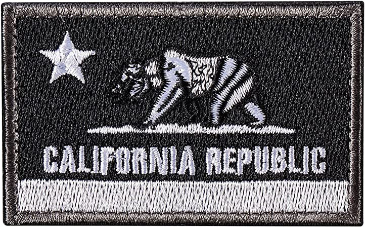 Bandera del Estado de la República de California - Parche de Moral Táctico del Oso del CA - Insignia de parche de parche bordado cosido en el sombrero, chaquetas, mochila (negro): Amazon.es: