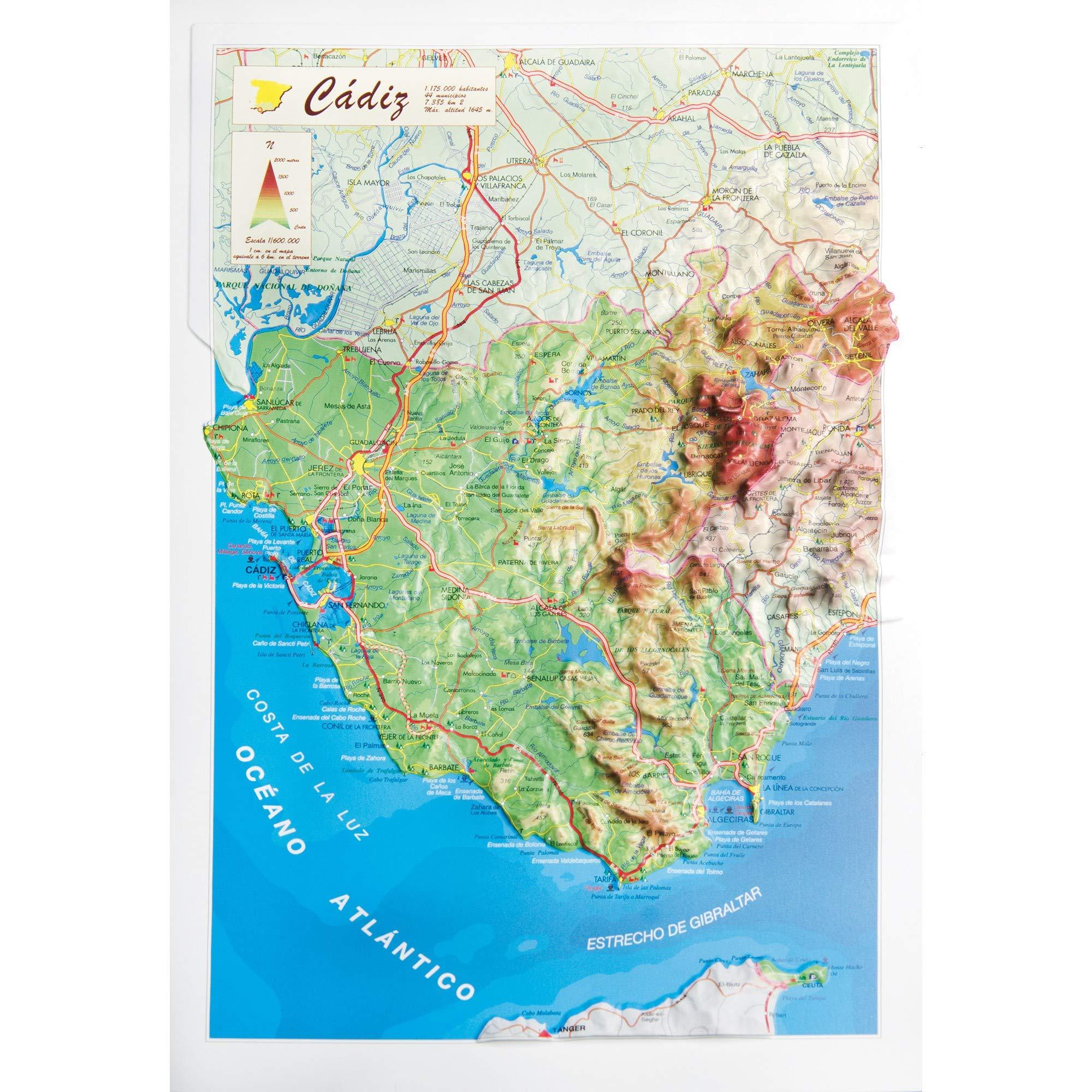 Mapa en relieve de Cádiz: Escala 1:600.000: Amazon.es: All 3D Form, S.L.: Libros