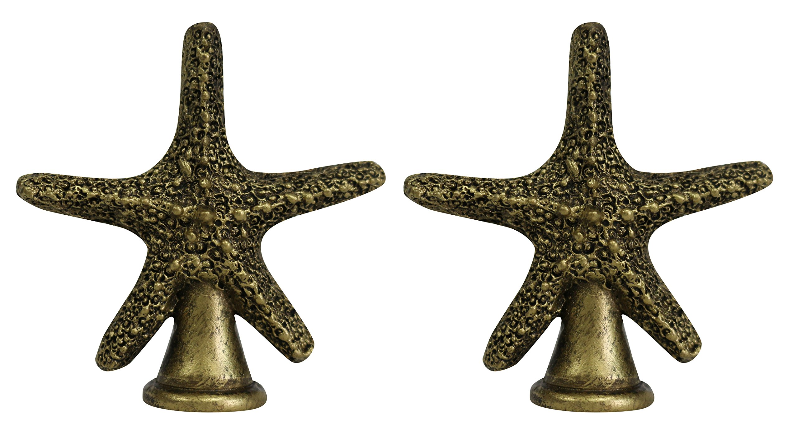 Urbanest Set of 2 Starfish Finial, 2 3/8-inch Tall, Antique Gold