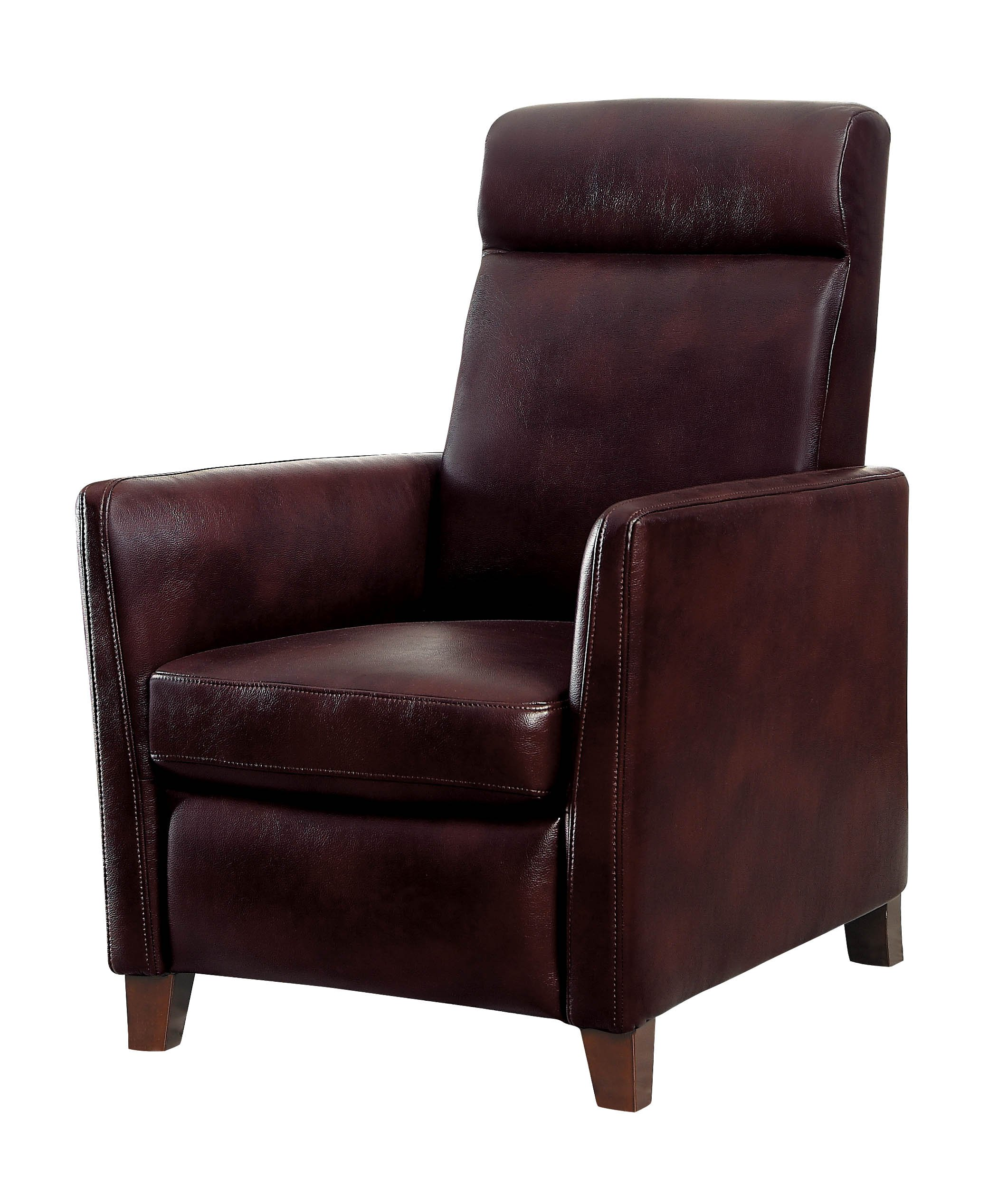 Homelegance Waneta Push Back Track Arm Reclining Club Chair Leather Gel Match, Brown
