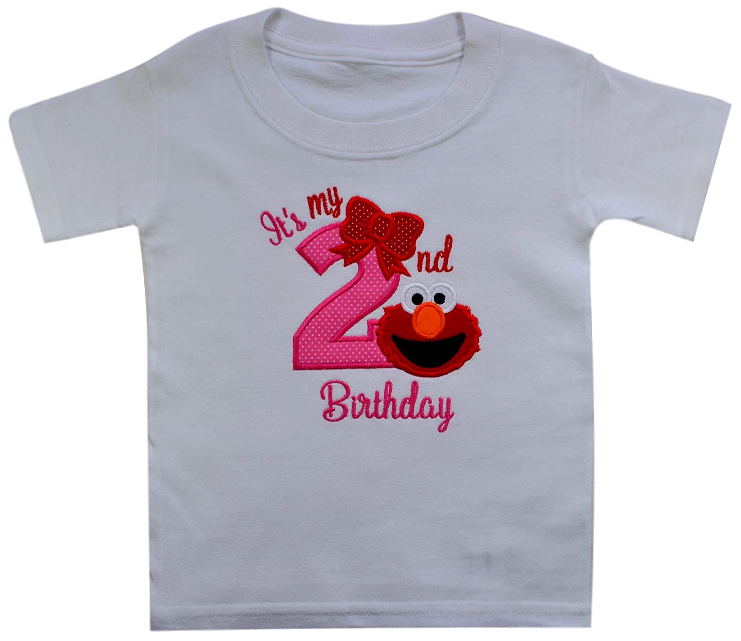 Amazon Elmo Its My 2nd Birthday Embroidered T Shirt For Toddler Girls Turning 2 Clothing
