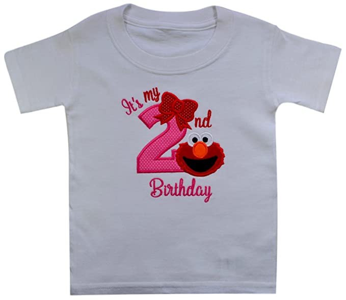 Elmo Its My 2nd Birthday Embroidered T Shirt For Toddler Girls Turning 2