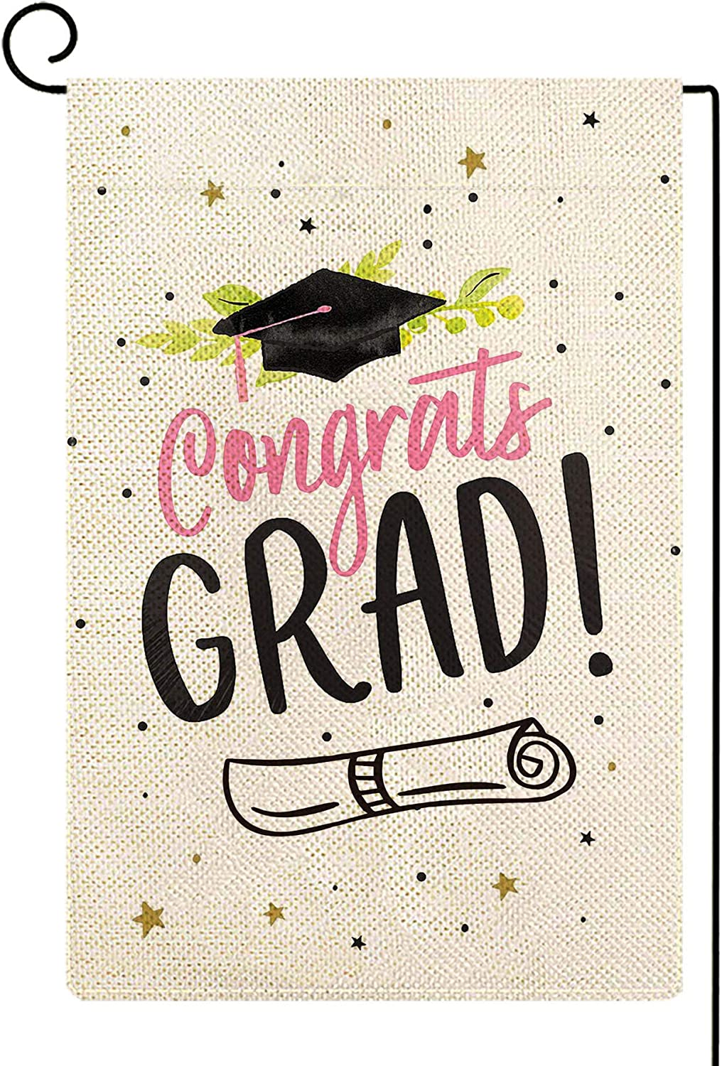 Baccessor Congratulations Graduation Garden Flag Class of 2020 Graduation Garden Flag Burlap Small Double Sided School Yard Flag Banner Sign for Outdoor Home Party Grad Holiday 12.5 x 18 Inch