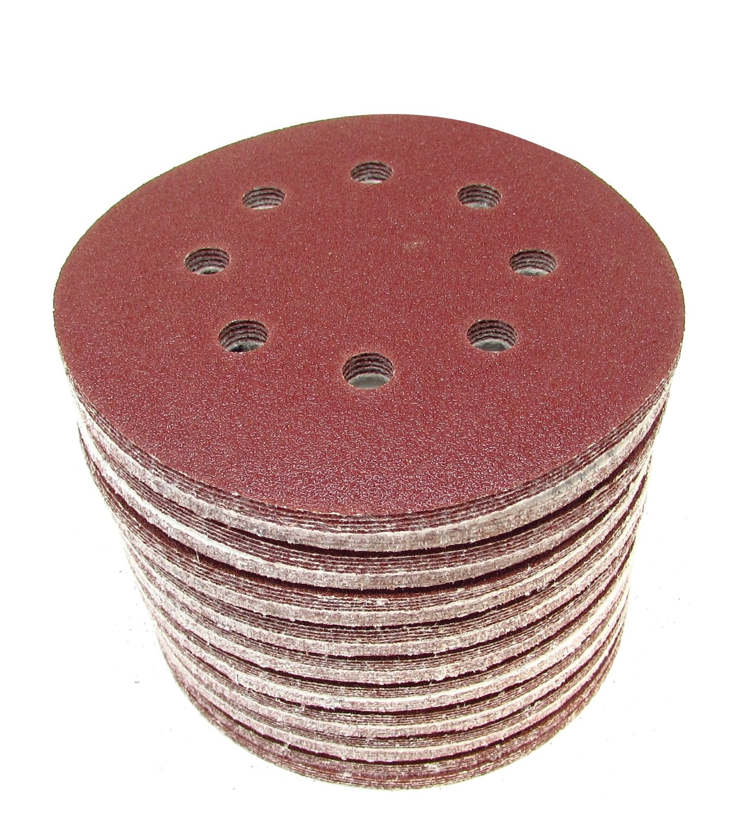 100 pack Sanding Discs 5 Inch [40 GRIT] 8 Hole Hook and Loop Backing