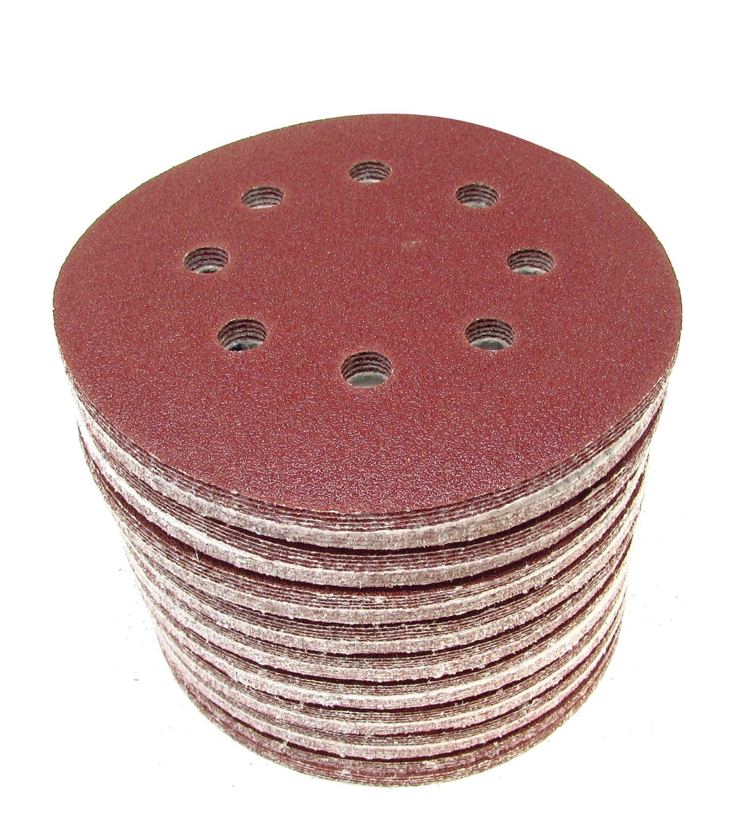 100 Pack Sanding Discs, 40 Grit, 5 Inch, 8 Holes, Hook and Loop Backing for Orbital Sanders
