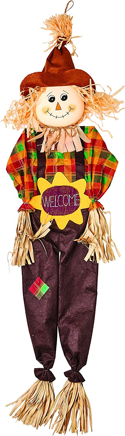 """Worth Imports 60"""" Hanging Scarecrow with Sunflower Design 2247SF"""