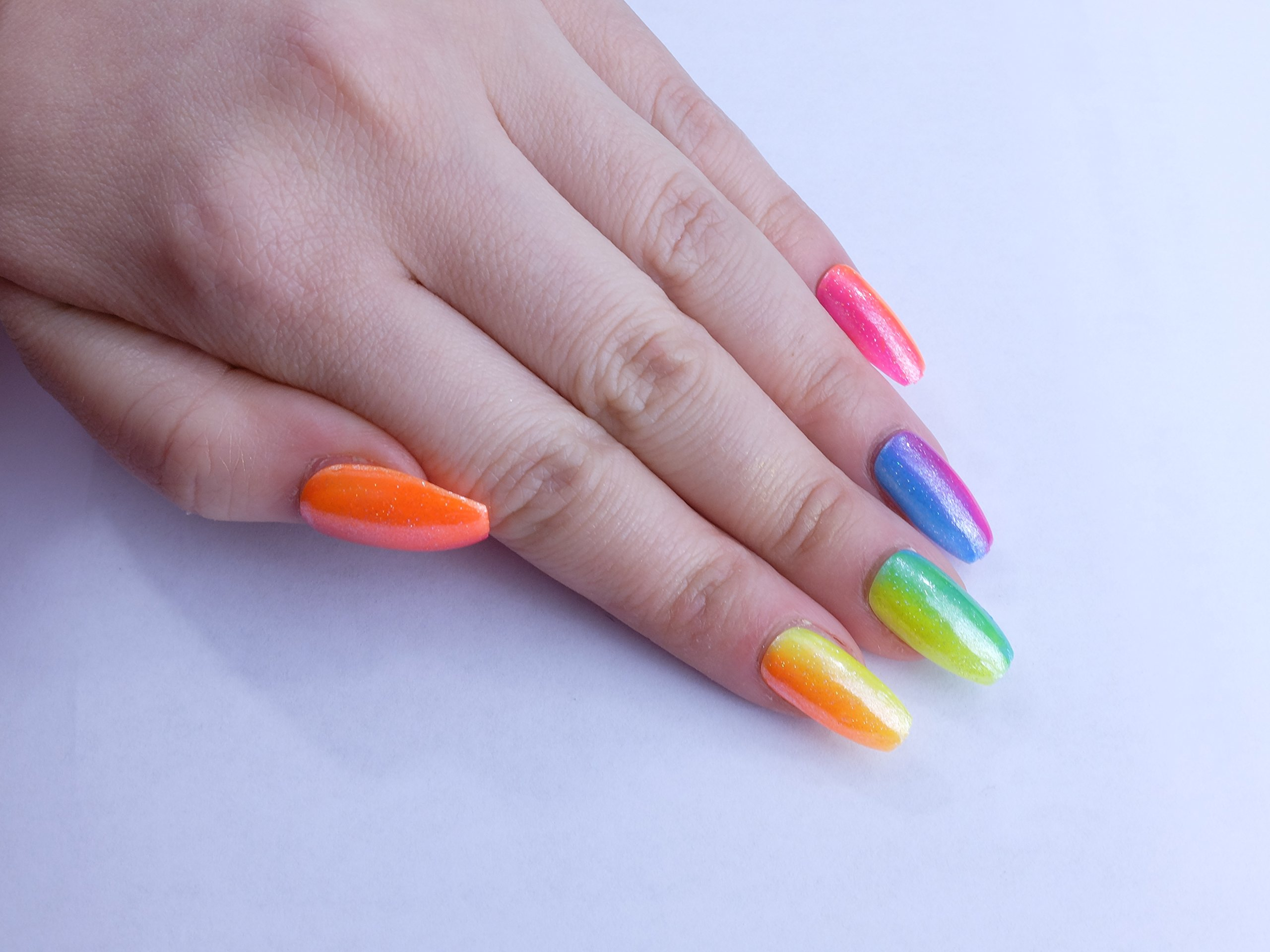 Rainbow Gradient Custom Press on Nails