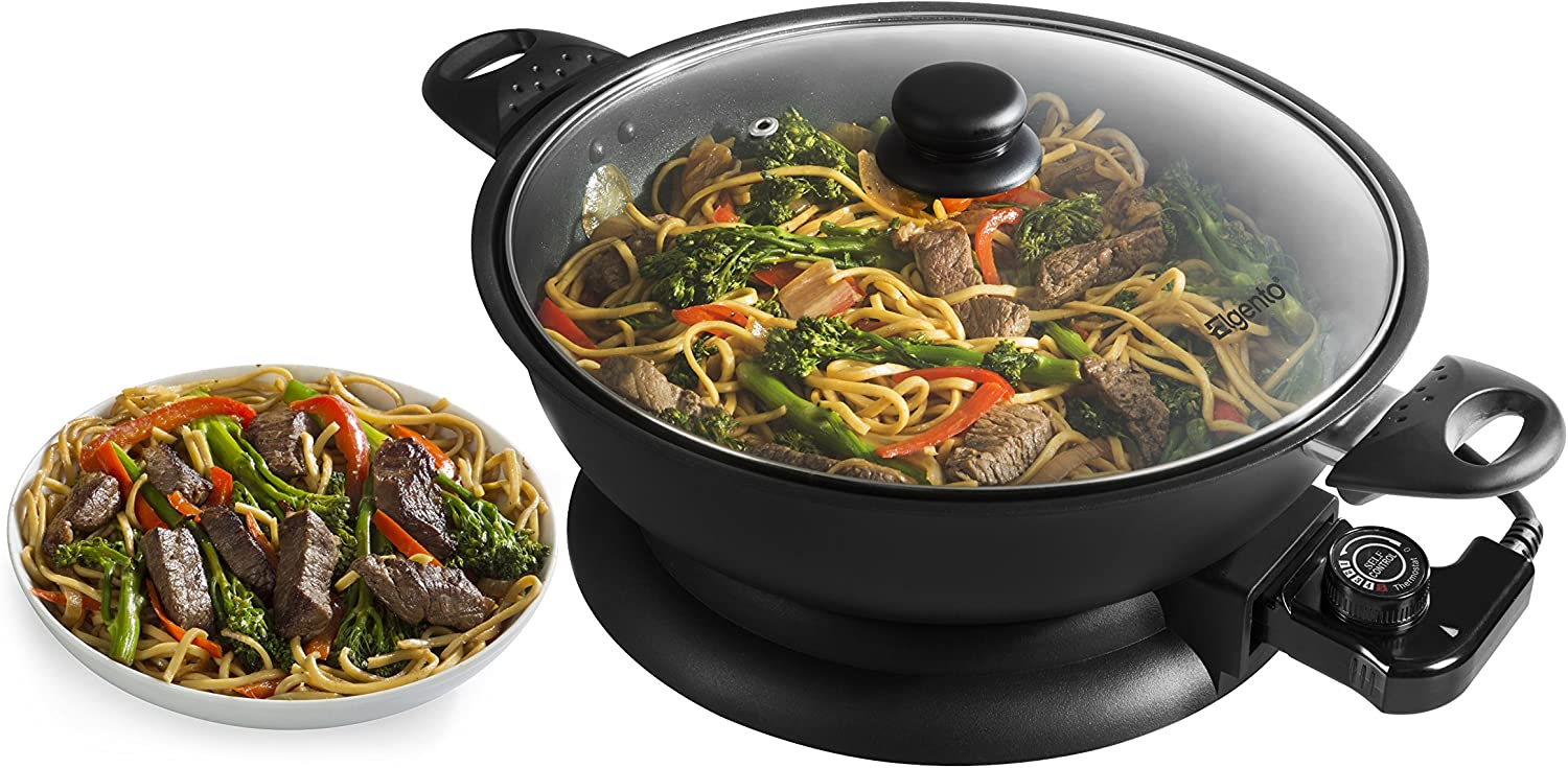 Elgento 30 cm Non-Stick Electric Wok with Glass Lid and Adjustable Thermostat Black 1400 W