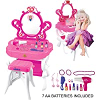 2-in-1 Musical Piano Vanity Set Girls Toy Makeup Accessories with Working Piano & Flashing Lights, Big Mirror, Pretend…