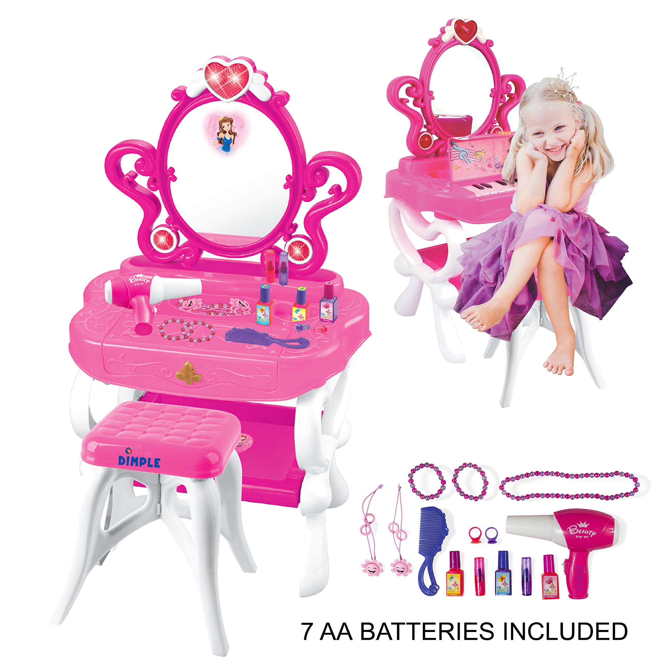 2-in-1 Musical Piano Vanity Set Girls Toy Makeup Accessories with Working Piano & Flashing Lights, Big Mirror, Pretend Cosmetics, Hair Dryer - Princess Image Appears in Mirror, 7 AA Batteries Included by Dimple